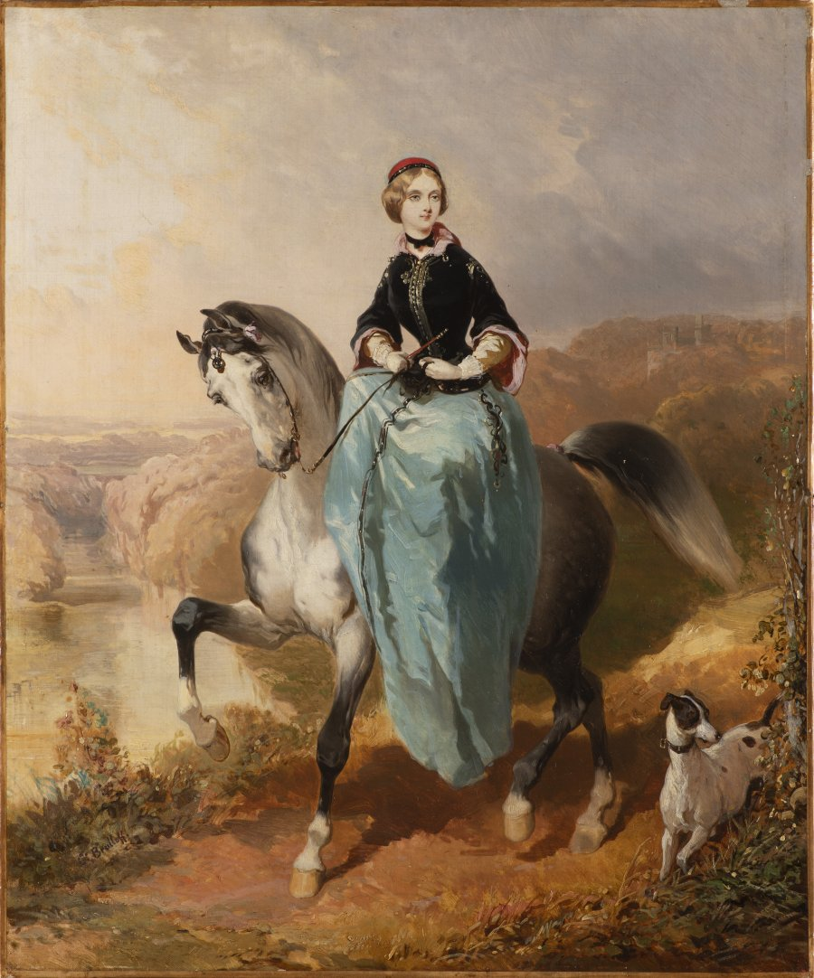 HORSEWOMAN WITH A DOG
