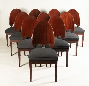 A SET OF TWELVE NORTHERN EUROPEAN MAHOGANY CHAIRS