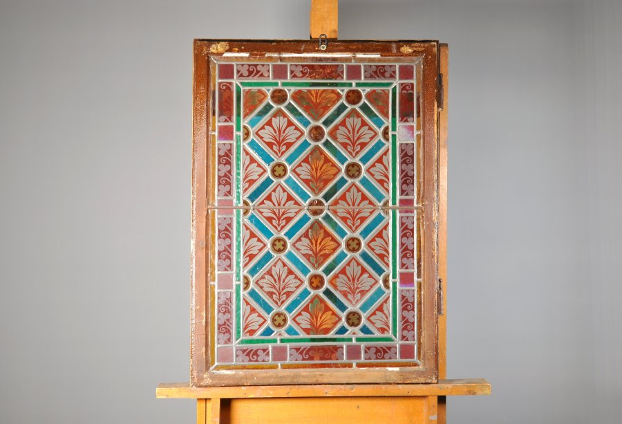 SET OF 7 STAINED GLASS WINDOW SASHES