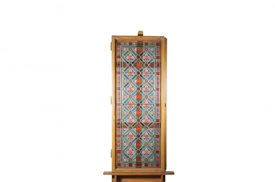 SET OF 9 STAINED GLASS WINDOW SASHES