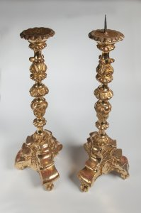 PAIRED GILDED CANDLESTICKS