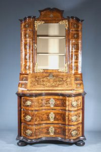 BAROQUE SECRETARY CABINET WITH BOOKCASE