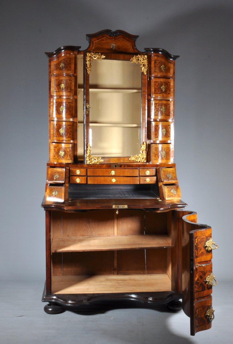 BAROQUE SECRETARY CABINET WITH BOOKCASE