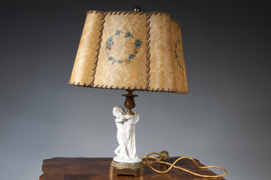 LAMP WITH RAWHIDE SHADE
