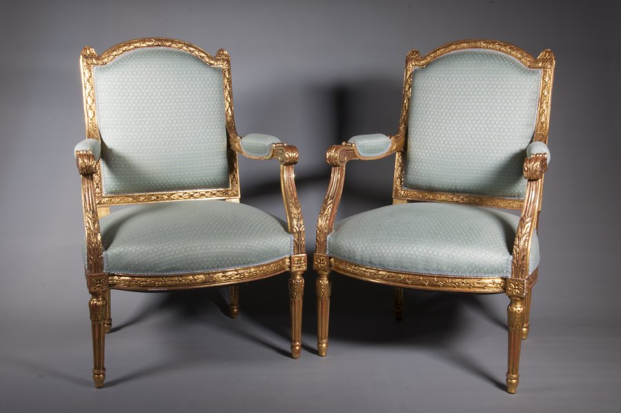 PAIRED GILDED ARMCHAIRS
