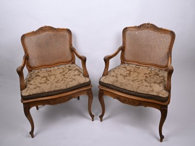 PAIRED ARMCHAIRS WITH A WEAVE
