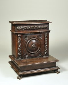 A CARVED WALNUT PRIE-DIEU