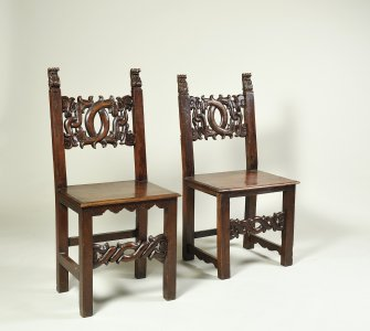 TWO CARVED WALNUT CHAIRS