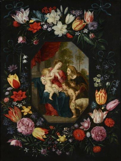 PANNA MARIA S JEŽÍŠKEM, SV. ALŽBĚTOU A JANEM KŘTITELEM V KVĚTINOVÉM RÁMU
