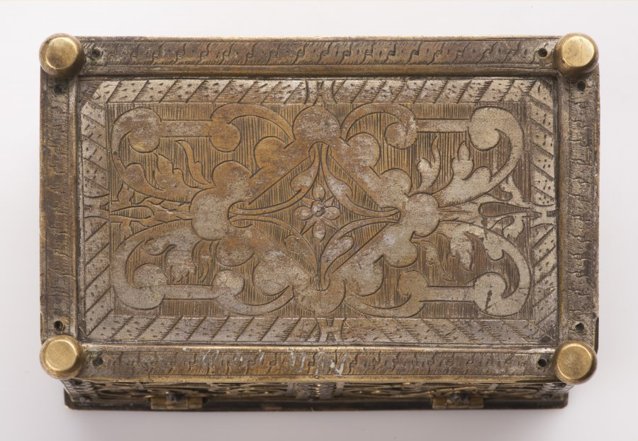 A SMALL BRASS RENAISSANCE CHEST