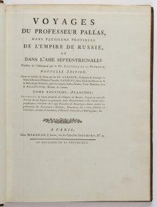 VOYAGES DU PROFESSEUR PALLAS, DANS PLUSIEURS PROVINCES DE L'EMPIRE DE RUSSIE, ET DANS L'ASIE SEPTENTRIONALE