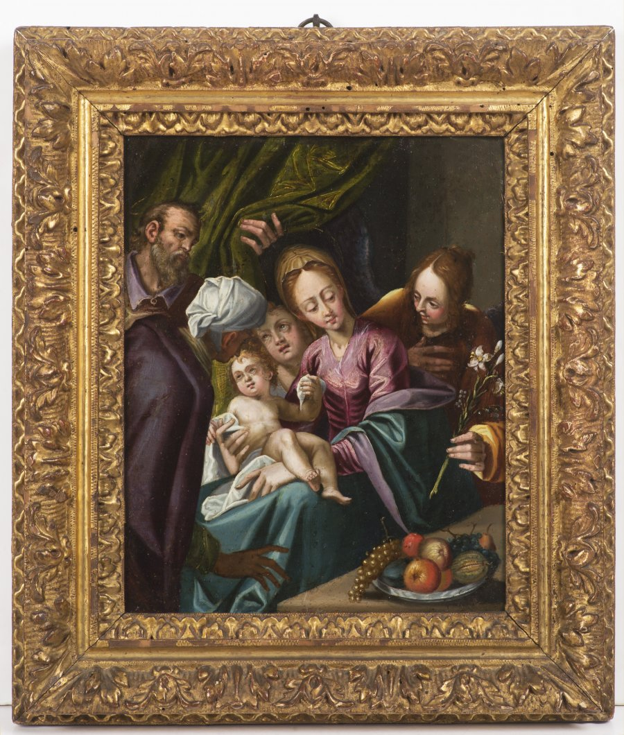 THE HOLY FAMILY WITH ST. ANNE AND TWO ANGELS