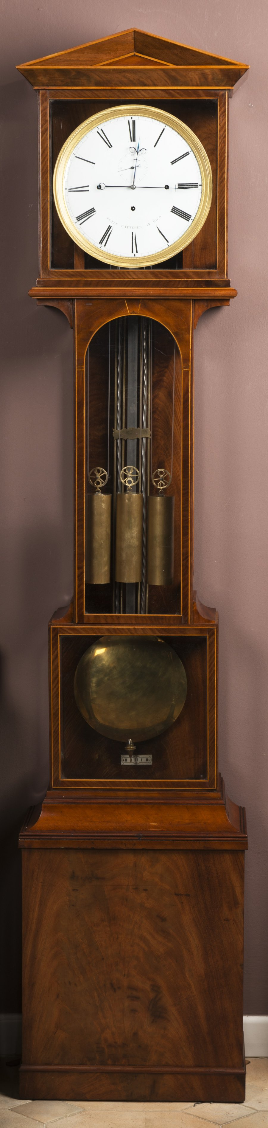 A LANTERN GRANDFATHER CLOCK